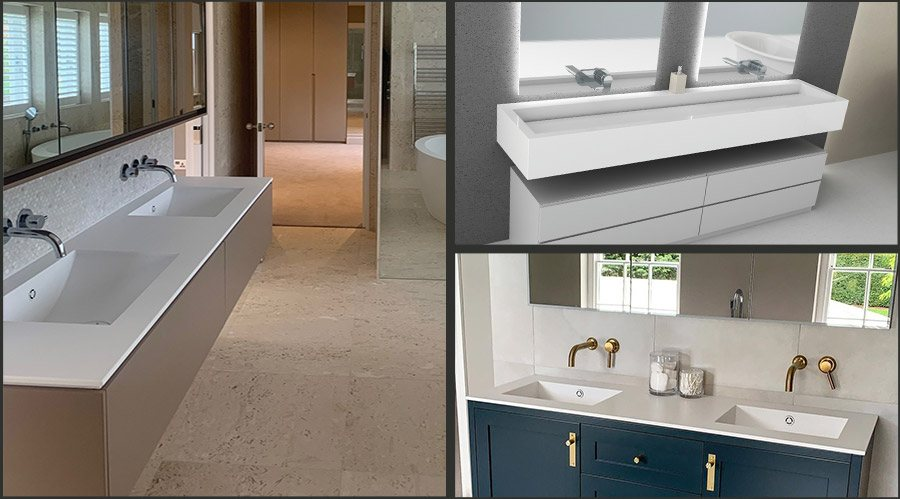 Corian Double and Wall Mounted Sinks